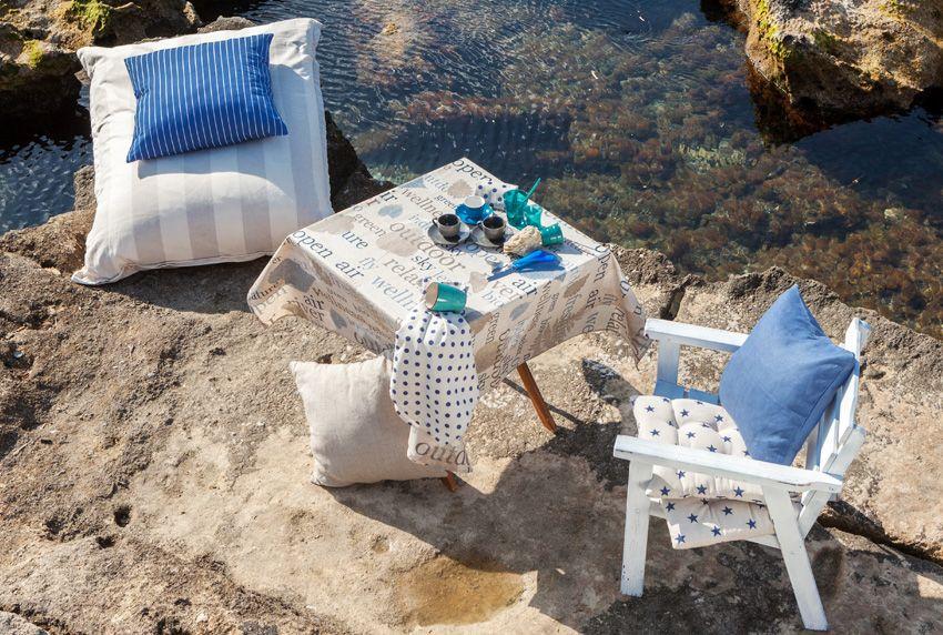 Moderne einfarbige Tischwäsche mit Sternen und Streifen in dezenten Farben vieles ist möglich