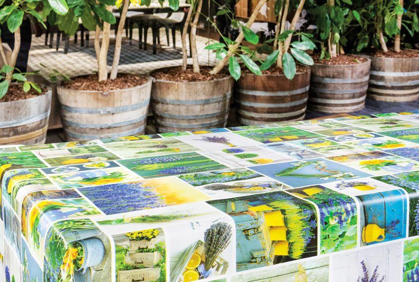 Collagen-Tischdecken mit fotorealistischen Printmustern leuchtstark auf Wachstuchoberflächen