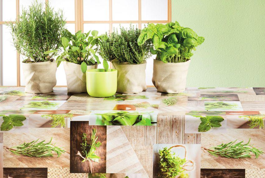 Abwaschbare Tischdecken für Kräuterfans individuell zugeschnitten für jede Tischgröße