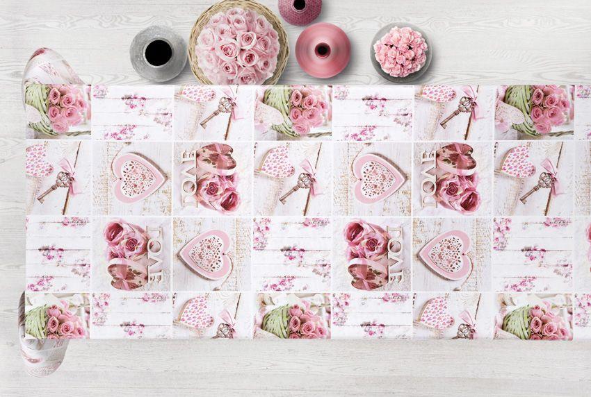 Herzen und Rosen - Die perfekte Verbindung auch auf Tischwäsche die abwaschbar ist
