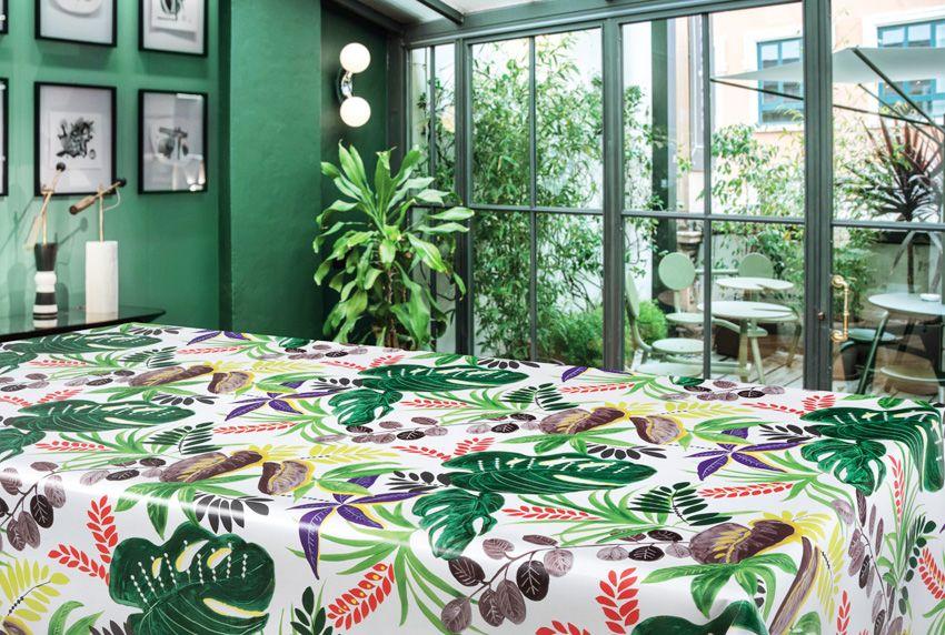 Bitte noch mehr Grün - Tropische Tischwäsche aus Wachstuch ist immer ein Stimmungsaufheller